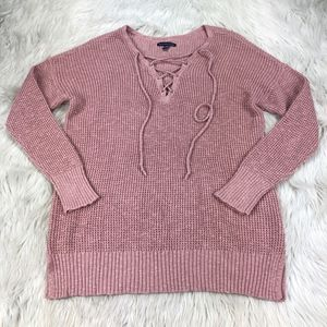American Eagle Outfitters Lace Up Neck Sweater
